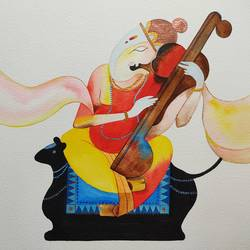ganesha, 10 x 10 inch, divya bhagat,10x10inch,renaissance watercolor paper,paintings,abstract paintings,figurative paintings,modern art paintings,religious paintings,paintings for dining room,paintings for living room,paintings for bedroom,paintings for office,paintings for hotel,watercolor,GAL0610346746