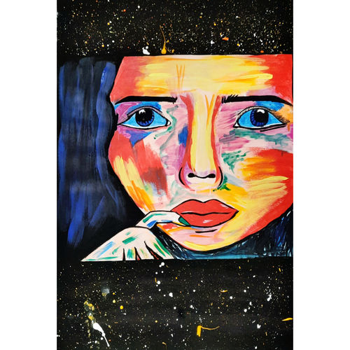 girl abstract painting, 32 x 23 inch, ishita singh,32x23inch,cartridge paper,paintings,abstract paintings,paintings for dining room,paintings for living room,paintings for bedroom,paintings for office,paintings for kids room,paintings for hotel,paintings for kitchen,paintings for school,paintings for hospital,acrylic color,paper,GAL03223246781