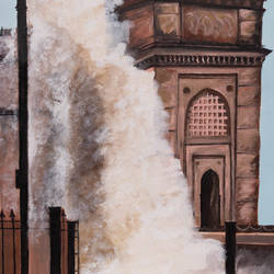 high tide gate way of india, 24 x 31 inch, prafulla  vanmali ,24x31inch,canvas,paintings,realistic paintings,paintings for dining room,paintings for living room,paintings for bedroom,paintings for office,paintings for hotel,paintings for school,paintings for hospital,acrylic color,GAL03084746785