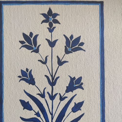 blue mughal flowers , 12 x 10 inch, manika sarin,12x10inch,canvas,paintings,flower paintings,nature paintings | scenery paintings,minimalist paintings,paintings for dining room,paintings for living room,paintings for bedroom,paintings for office,acrylic color,GAL03372146805