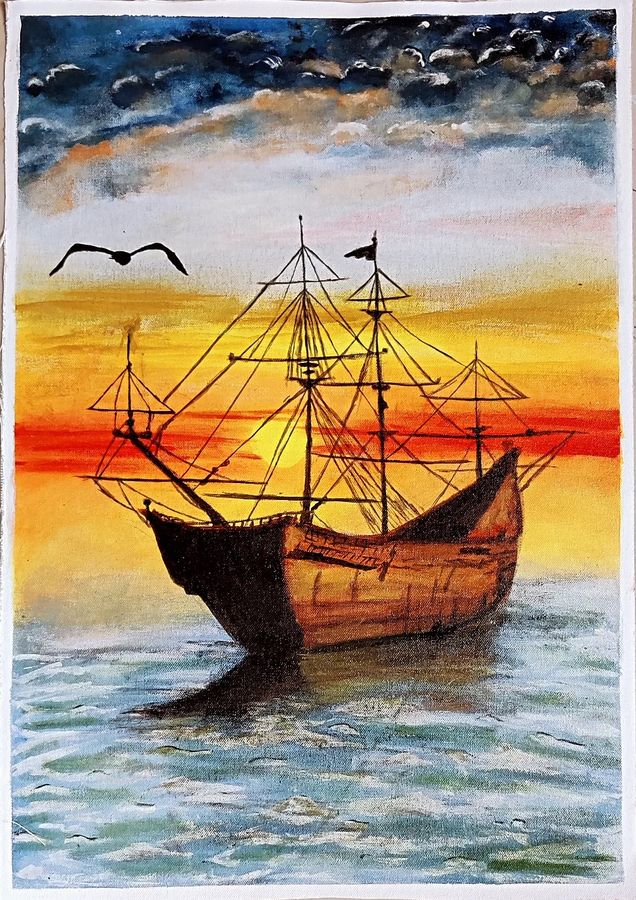 Canvas hand painted sunset seascape with ship
