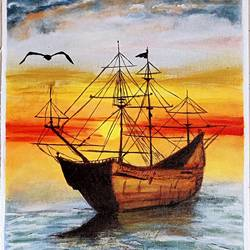 canvas hand-painted sunset seascape with ship, 18 x 26 inch, shalini kumari,18x26inch,canvas,landscape paintings,nature paintings | scenery paintings,acrylic color,GAL03372346809