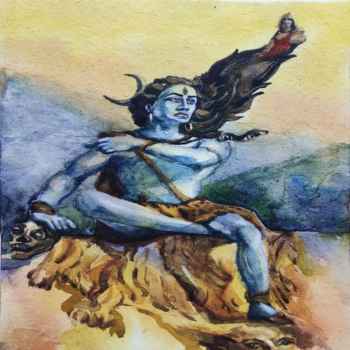 lord shiva, 6 x 7 inch, krishna  mondal ,6x7inch,paper,paintings,figurative paintings,lord shiva paintings,miniature painting.,paintings for dining room,paintings for living room,paintings for bedroom,paintings for office,paintings for bathroom,paintings for kids room,paintings for hotel,paintings for kitchen,paintings for school,watercolor,GAL03095446841
