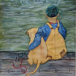 bubble gum & the kid, 12 x 18 inch, narendra gangakhedkar,12x18inch,canvas,paintings,figurative paintings,paintings for kids room,acrylic color,GAL03375446843