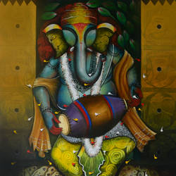 the god of wisdom, 48 x 60 inch, anupam  pal,48x60inch,canvas,paintings,modern art paintings,conceptual paintings,religious paintings,radha krishna paintings,contemporary paintings,realistic paintings,elephant paintings,paintings for dining room,paintings for living room,paintings for bedroom,paintings for office,paintings for bathroom,paintings for kids room,paintings for hotel,paintings for kitchen,paintings for school,paintings for hospital,acrylic color,GAL08246849