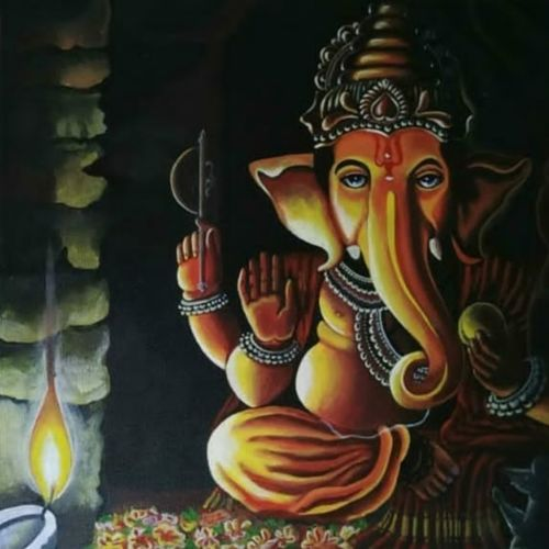 ganesha, 18 x 18 inch, priya rathi,18x18inch,canvas board,religious paintings,paintings for living room,paintings for office,paintings for living room,paintings for office,acrylic color,GAL02964446856