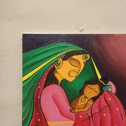 devi yashoda and balkrishna, 10 x 12 inch, jiya jadhav,10x12inch,canvas,paintings,abstract paintings,religious paintings,radha krishna paintings,paintings for living room,paintings for bedroom,acrylic color,GAL03377946860