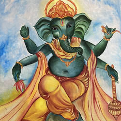 lord ganesh, 18 x 24 inch, alok laloria,18x24inch,canvas,paintings,ganesha paintings   lord ganesh paintings,paintings for living room,paintings for office,paintings for hospital,oil color,GAL03370546869