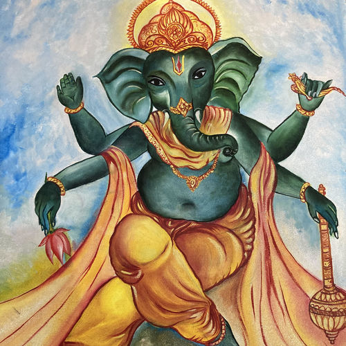 lord ganesh, 18 x 24 inch, alok laloria,18x24inch,canvas,paintings,ganesha paintings | lord ganesh paintings,paintings for living room,paintings for office,paintings for hospital,oil color,GAL03370546869