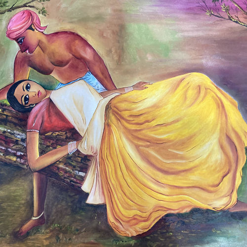 romance, 24 x 36 inch, alok laloria,24x36inch,canvas,paintings,love paintings,paintings for dining room,paintings for living room,paintings for bedroom,paintings for hotel,oil color,GAL03370546871