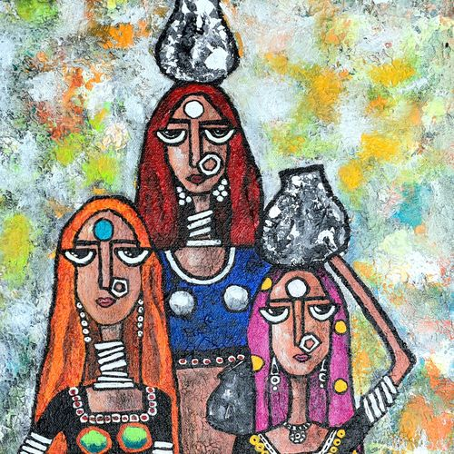 indian contemporary , 12 x 36 inch, nidhi gupta,12x36inch,canvas,paintings,figurative paintings,folk art paintings,modern art paintings,contemporary paintings,paintings for dining room,paintings for living room,paintings for bedroom,paintings for office,paintings for hotel,paintings for kitchen,paintings for school,mixed media,GAL02487946877