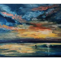 sunset, 14 x 10 inch, aishwarya dhamdhere,14x10inch,canvas,paintings,abstract paintings,landscape paintings,nature paintings | scenery paintings,love paintings,paintings for dining room,paintings for living room,paintings for bedroom,paintings for office,paintings for bathroom,paintings for kids room,paintings for hotel,paintings for kitchen,paintings for school,paintings for hospital,oil color,GAL03071446882