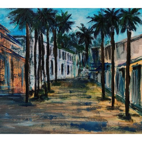 through the palm trees, 14 x 10 inch, aishwarya dhamdhere,14x10inch,canvas,paintings,abstract paintings,cityscape paintings,landscape paintings,modern art paintings,nature paintings   scenery paintings,street art,love paintings,paintings for dining room,paintings for living room,paintings for bedroom,paintings for office,paintings for bathroom,paintings for kids room,paintings for hotel,paintings for kitchen,paintings for school,paintings for hospital,acrylic color,GAL03071446883