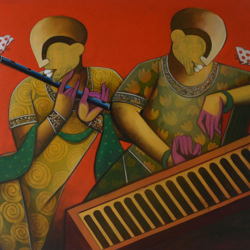rhythmic reverberations 2, 48 x 36 inch, anupam  pal,48x36inch,canvas,paintings,abstract paintings,buddha paintings,figurative paintings,landscape paintings,modern art paintings,conceptual paintings,cubism paintings,expressionism paintings,pop art paintings,realism paintings,ganesha paintings | lord ganesh paintings,radha krishna paintings,realistic paintings,horse paintings,mother teresa paintings,lord shiva paintings,paintings for dining room,paintings for living room,paintings for bedroom,paintings for office,paintings for bathroom,paintings for kids room,paintings for hotel,paintings for kitchen,paintings for school,paintings for hospital,acrylic color,GAL08246884