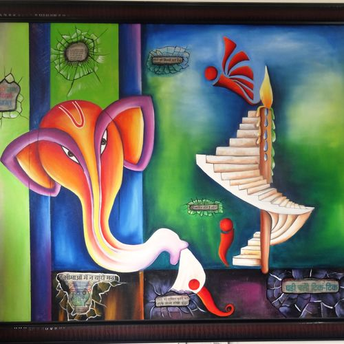 thoughts, 66 x 40 inch, anupama sachdeva,modern art paintings,paintings for living room,canvas,acrylic color,66x40inch,GAL0251469
