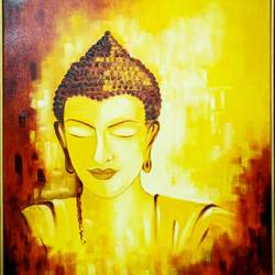 the enlightened one, 24 x 30 inch, preeti misra,24x30inch,canvas,paintings,buddha paintings,religious paintings,portrait paintings,paintings for dining room,paintings for living room,paintings for bedroom,paintings for office,paintings for hotel,paintings for school,paintings for hospital,oil color,GAL02658246900