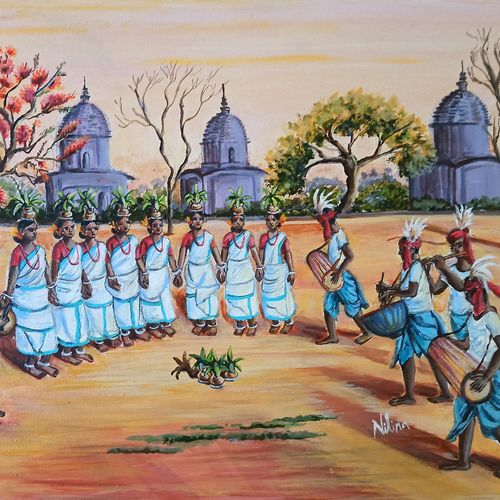 tribal  dance in the  temple  courtyard , 20 x 16 inch, nilina guha,20x16inch,canvas board,paintings,figurative paintings,folk art paintings,cityscape paintings,landscape paintings,modern art paintings,conceptual paintings,religious paintings,still life paintings,nature paintings   scenery paintings,art deco paintings,expressionism paintings,photorealism paintings,photorealism,realistic paintings,love paintings,paintings for dining room,paintings for living room,paintings for bedroom,paintings for office,paintings for kids room,paintings for school,paintings for hospital,paintings for dining room,paintings for living room,paintings for bedroom,paintings for office,paintings for kids room,paintings for school,paintings for hospital,acrylic color,GAL02203046908