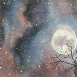 starry sky, 12 x 7 inch, nidhi gupta,nature paintings,paintings for living room,paintings for bedroom,thick paper,poster color,12x7inch,GAL02484691Nature,environment,Beauty,scenery,greenery