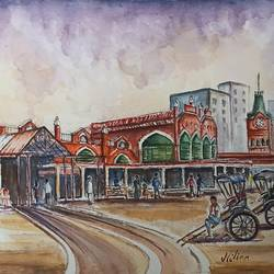 the colonial architecture of kolkata hogg market, 20 x 14 inch, nilina guha,20x14inch,handmade paper,paintings,figurative paintings,cityscape paintings,landscape paintings,modern art paintings,nature paintings | scenery paintings,art deco paintings,photorealism paintings,photorealism,realistic paintings,paintings for dining room,paintings for living room,paintings for bedroom,paintings for office,paintings for kids room,paintings for hotel,paintings for school,paintings for hospital,watercolor,GAL02203046911