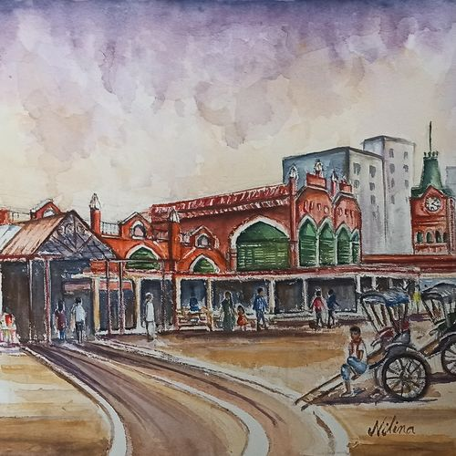 the colonial architecture of kolkata hogg market, 20 x 14 inch, nilina guha,20x14inch,handmade paper,paintings,figurative paintings,cityscape paintings,landscape paintings,modern art paintings,nature paintings   scenery paintings,art deco paintings,photorealism paintings,photorealism,realistic paintings,paintings for dining room,paintings for living room,paintings for bedroom,paintings for office,paintings for kids room,paintings for hotel,paintings for school,paintings for hospital,watercolor,GAL02203046911