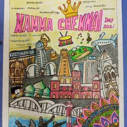 chennai day special, 8 x 12 inch, charuhasini b,8x12inch,drawing paper,drawings,paintings for living room,conceptual drawings,paintings for living room,pastel color,GAL02937646915