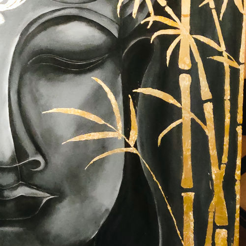 meditating buddha with gold leaves, 36 x 48 inch, rajni  a,36x48inch,canvas,paintings,abstract paintings,buddha paintings,foil paintings,modern art paintings,religious paintings,abstract expressionism paintings,art deco paintings,contemporary paintings,acrylic color,GAL084046916