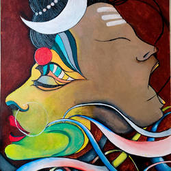 divine shiv parvati, 16 x 20 inch, rajni  a,16x20inch,canvas,paintings,abstract paintings,religious paintings,abstract expressionism paintings,contemporary paintings,lord shiva paintings,paintings for living room,paintings for hotel,acrylic color,GAL084046922