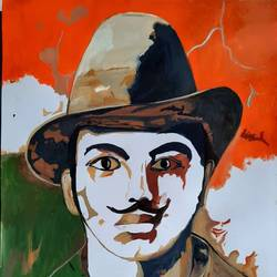 bhagat singh, 12 x 17 inch, kamakshi kannan,12x17inch,thick paper,figurative paintings,paintings for school,paintings for school,watercolor,GAL02860646937