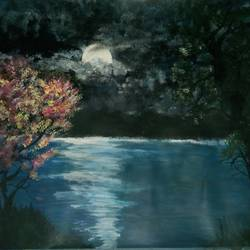 solitude and moonlight ❤, 8 x 12 inch, rukmani raj sonkar,8x12inch,thick paper,nature paintings | scenery paintings,acrylic color,GAL03290946940