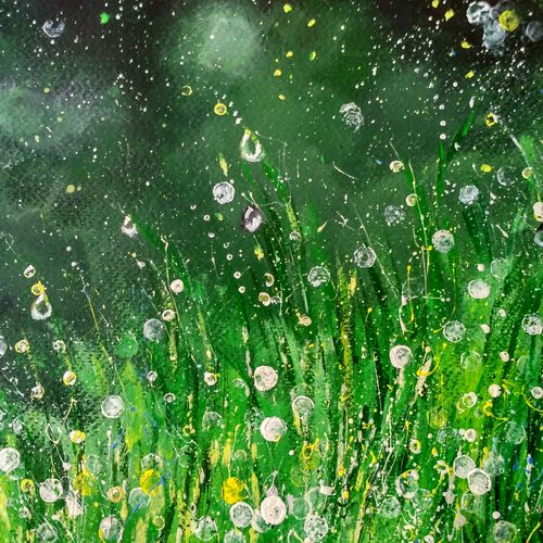 dew on grass, 12 x 9 inch, anirban  kar,paintings for office,nature paintings,brustro watercolor paper,acrylic color,12x9inch,GAL015604695Nature,environment,Beauty,scenery,greenery