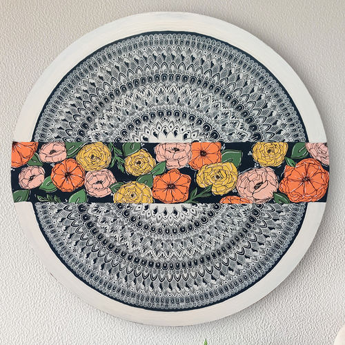 floral mandala , 24 x 24 inch, tanya lalwani,24x24inch,wood board,paintings,wall hangings,paintings for dining room,paintings for living room,acrylic color,GAL03390946950