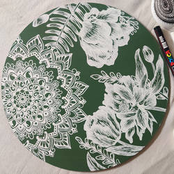 green floral mandala, 10 x 10 inch, tanya lalwani,10x10inch,wood board,paintings,paintings for dining room,paintings for living room,paintings for bedroom,paintings for office,paintings for bathroom,acrylic color,pen color,GAL03390946956