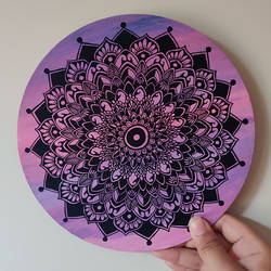 pink sky mandala, 8 x 8 inch, tanya lalwani,8x8inch,wood board,paintings,paintings for dining room,paintings for living room,paintings for bedroom,paintings for office,paintings for bathroom,acrylic color,pen color,GAL03390946957