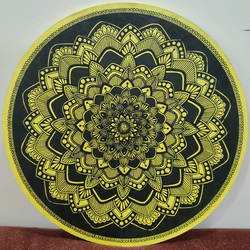 yellow mandala, 10 x 10 inch, tanya lalwani,10x10inch,wood board,paintings,paintings for dining room,paintings for living room,paintings for bedroom,paintings for office,paintings for bathroom,paintings for kitchen,acrylic color,pen color,GAL03390946959