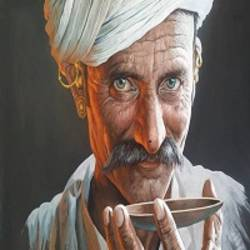 hyper realistic painting,indian turban men painting, rajasthani men portrait,chai men painting ,wall art for decoration, 18 x 24 inch, manish vaishnav,18x24inch,cloth,paintings,portrait paintings,paintings for living room,paintings for bedroom,paintings for hotel,paintings for kitchen,watercolor,GAL03376246960