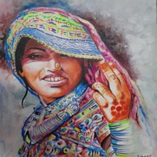 indian women painting, rajasthani lady painting, 28 x 32 inch, manish vaishnav,28x32inch,canvas,portrait paintings,paintings for dining room,paintings for living room,paintings for bedroom,paintings for office,paintings for hotel,paintings for dining room,paintings for living room,paintings for bedroom,paintings for office,paintings for hotel,acrylic color,GAL03376246964