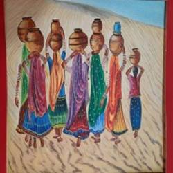 indian women painting, rajasthani ladies with water pots,indian women wall art, village women for wall decor, 24 x 32 inch, manish vaishnav,24x32inch,canvas,art deco paintings,paintings for dining room,paintings for living room,paintings for bedroom,paintings for office,paintings for hotel,paintings for dining room,paintings for living room,paintings for bedroom,paintings for office,paintings for hotel,acrylic color,GAL03376246966