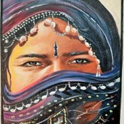 indian lady national geography woman handmade painting on canvas , 29 x 40 inch, manish vaishnav,29x40inch,canvas,paintings,portrait paintings,paintings for dining room,paintings for living room,paintings for bedroom,paintings for office,paintings for hotel,acrylic color,GAL03376246967