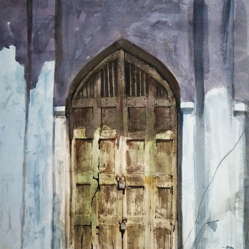 old door, 22 x 28 inch, soyli saha,22x28inch,thick paper,paintings,photorealism paintings,paintings for dining room,paintings for living room,paintings for bedroom,paintings for office,paintings for bathroom,paintings for kids room,paintings for hotel,paintings for kitchen,paintings for school,paintings for hospital,watercolor,GAL0606546975