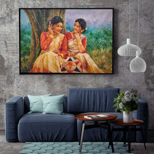 they smile because i simle, 38 x 31 inch, anuja saxena,38x31inch,canvas,paintings,art deco paintings,expressionism paintings,realistic paintings,paintings for dining room,paintings for living room,paintings for office,paintings for hotel,paintings for school,paintings for hospital,oil color,GAL03393046980