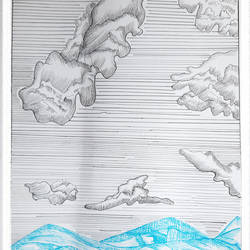 clouds 2, 12 x 17 inch, nandita basu,12x17inch,fabriano sheet,drawings,illustration drawings,paintings for dining room,paintings for living room,paintings for bedroom,paintings for office,paintings for hotel,pen color,paper,GAL01781146981