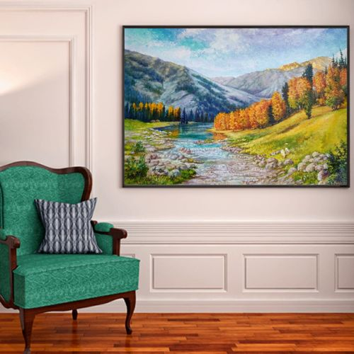the autumn took it away, 40 x 34 inch, anuja saxena,40x34inch,canvas,paintings,landscape paintings,nature paintings | scenery paintings,realism paintings,paintings for dining room,paintings for living room,paintings for bedroom,paintings for office,paintings for hotel,paintings for school,paintings for hospital,oil color,GAL03393046983