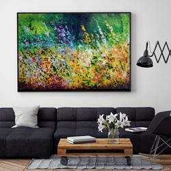 verdure - 2, 37 x 22 inch, anuja saxena,37x22inch,canvas,paintings,abstract paintings,flower paintings,nature paintings | scenery paintings,art deco paintings,paintings for dining room,paintings for living room,paintings for bedroom,paintings for office,paintings for kids room,paintings for hotel,paintings for school,paintings for hospital,oil color,GAL03393046986