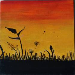 nature in evening, 8 x 8 inch, rajat nandkishor patil,8x8inch,canvas,landscape paintings,poster color,GAL03373046993