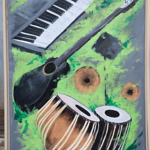 musical instruments , 24 x 36 inch, prafulla  vanmali ,24x36inch,canvas,paintings,multi piece paintings,paintings for dining room,paintings for living room,paintings for bedroom,paintings for office,paintings for kids room,paintings for hotel,paintings for kitchen,paintings for school,paintings for hospital,acrylic color,GAL03084746995