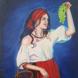 beautiful women with grapes , 18 x 24 inch, sandhya kumari,18x24inch,canvas,paintings,modern art paintings,conceptual paintings,still life paintings,photorealism,portraiture,realistic paintings,paintings for living room,paintings for kitchen,paintings for school,paintings for dining room,paintings for bedroom,paintings for office,paintings for kids room,paintings for hotel,paintings for hospital,paintings for school,acrylic color,GAL0365946997
