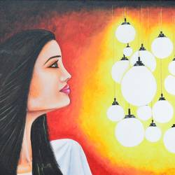 woman, light in the dark, 24 x 18 inch, meenal kankariya,conceptual paintings,paintings for living room,canvas,acrylic color,24x18inch,GAL016494700