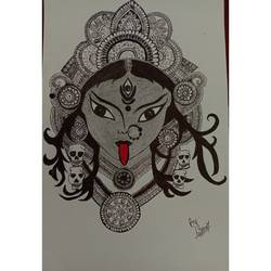 goddess kaali mandala art, 8 x 12 inch, aastha gupta,8x12inch,thick paper,drawings,paintings for dining room,paintings for living room,paintings for bedroom,modern drawings,paintings for dining room,paintings for living room,paintings for bedroom,ball point pen,paper,GAL03396247001