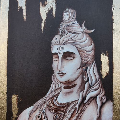 rudradev, 18 x 24 inch, khushboo shah,18x24inch,canvas board,paintings,figurative paintings,foil paintings,religious paintings,portrait paintings,lord shiva paintings,paintings for living room,paintings for office,paintings for hotel,paintings for school,paintings for hospital,acrylic color,mixed media,GAL03321847018