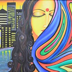 threading the dilemma, 20 x 16 inch, meenal kankariya,conceptual paintings,paintings for living room,canvas,acrylic color,20x16inch,GAL016494702